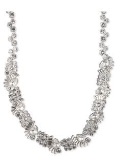 "Jenny Packham Silver-Tone Multi-Crystal Art Deco Collar Necklace, 16"" + 2"" extender"