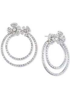 Jenny Packham Silver-Tone Pave Flower Double-Hoop Drop Earrings