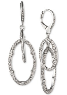 Jenny Packham Silver-Tone Pave Orbital Drop Earrings