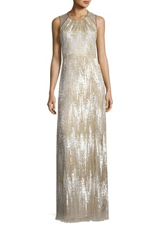 Jenny Packham Sleeveless Chevron Sequined Gown