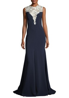 Jenny Packham Sleeveless Crepe Evening Gown with Embellished Bodice