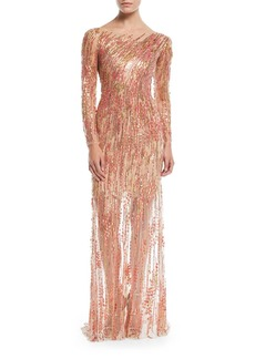 Jenny Packham Sleeveless Ombre Beaded Evening Gown