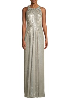 Jenny Packham Sleeveless Sequined Gathered-Waist Evening Gown