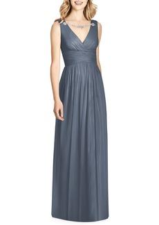 Jenny Packham Sleeveless Sparkle Neck Chiffon Gown