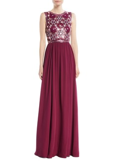 Jenny Packham Star-Sequin Embroidered Top with Chiffon Skirt Evening Gown