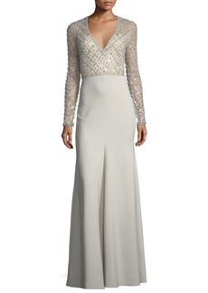 Jenny Packham V-Neck Long-Sleeve Beaded Top Crepe Skirt Evening Gown