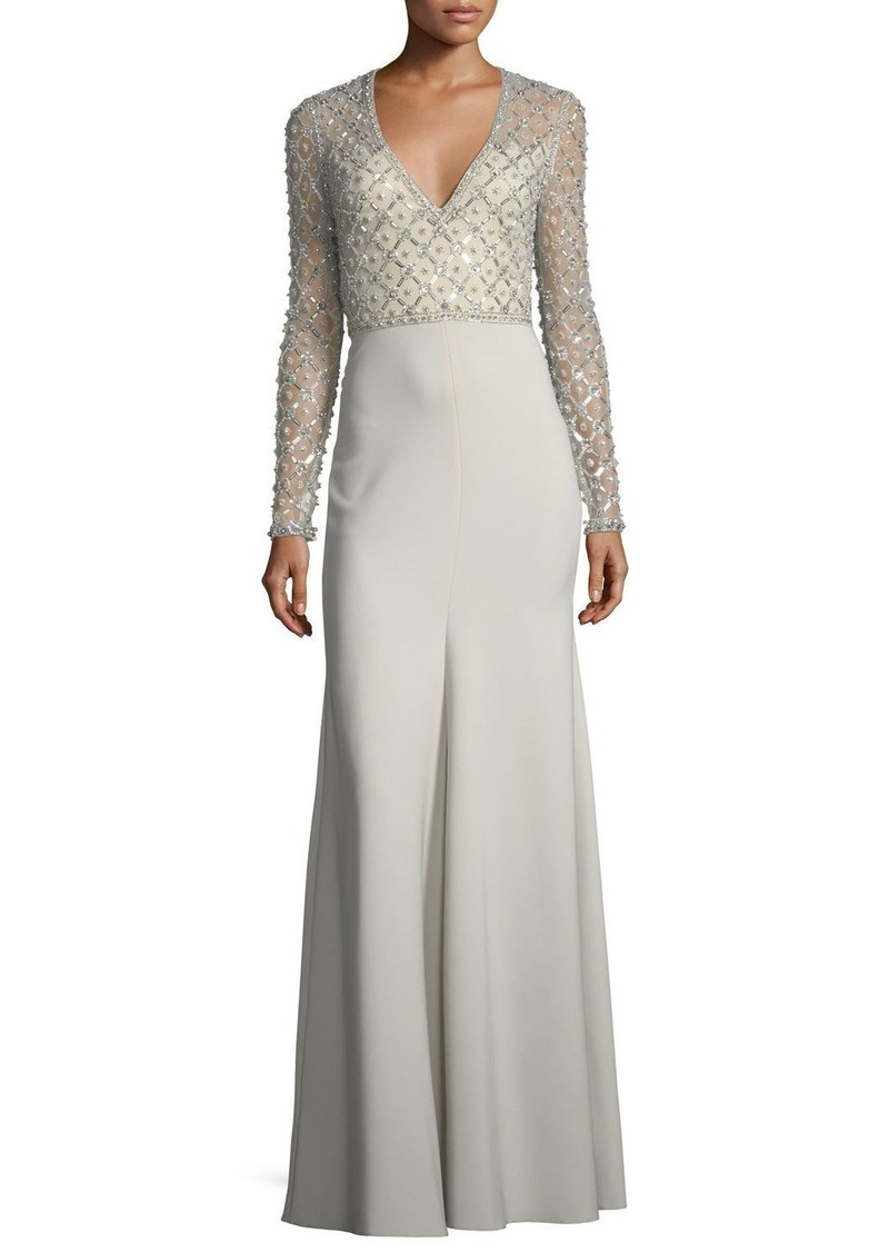 7a5b6f3bb00 Jenny Packham V-Neck Long-Sleeve Beaded Top Crepe Skirt Evening Gown ...