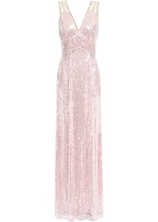Jenny Packham Woman Bead-embellished Sequined Tulle Gown Baby Pink