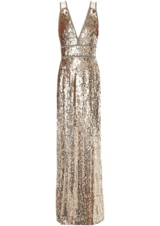 Jenny Packham Woman Crystal-embellished Sequined Tulle Gown Gold