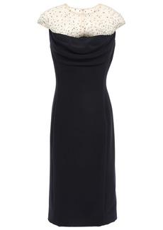 Jenny Packham Woman Crystal-embellished Tulle-paneled Stretch-cady Dress Black