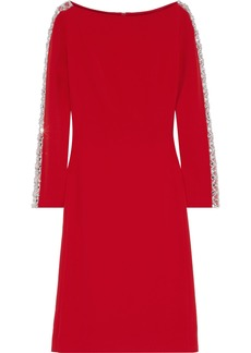 Jenny Packham Woman Crystal-embellished Tulle-trimmed Stretch-cady Dress Tomato Red