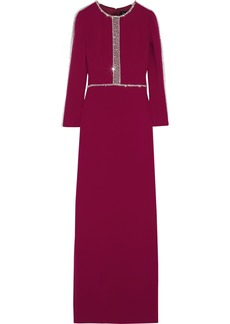 Jenny Packham Woman Crystal-embellished Tulle-trimmed Stretch-cady Gown Magenta