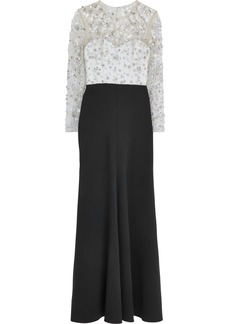Jenny Packham Woman Embellished Tulle And Cady Gown Black