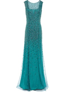 Jenny Packham Woman Assana Open-back Beaded Tulle Gown Teal