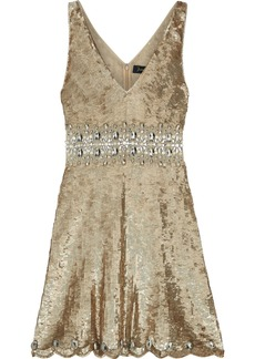 Jenny Packham Woman Embellished Tulle Mini Dress Platinum