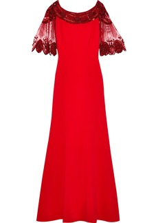 Jenny Packham Woman Embellished Tulle-paneled Cady Gown Red