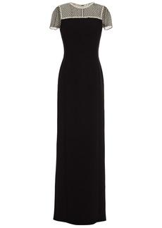 Jenny Packham Woman Embellished Tulle-paneled Crepe Gown Black