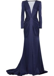 Jenny Packham Woman Embellished Tulle-paneled Gathered Satin-crepe Gown Indigo
