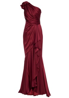 Jenny Packham Woman One-shoulder Draped Silk-stain Gown Burgundy