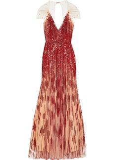 Jenny Packham Woman Open-back Embellished Tulle Gown Pastel Orange
