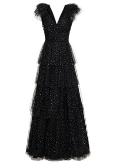 Jenny Packham Woman Tiered Sequined Tulle Gown Black