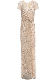Jenny Packham Woman Twist-front Sequined Tulle Gown Gold