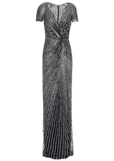 Jenny Packham Woman Twist-front Sequined Tulle Gown Midnight Blue