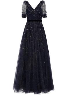 Jenny Packham Woman Velvet-trimmed Crystal-embellished Glittered Tulle Gown Midnight Blue