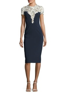 Jenny Packham Jewel-Neck Short-Sleeve Crepe Cocktail Dress with Lace