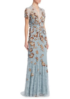 Jenny Packham Lace & Sequin Embellished Gown
