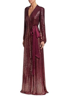 Jenny Packham Long Sleeve Silk Chiffon Sequin Gown