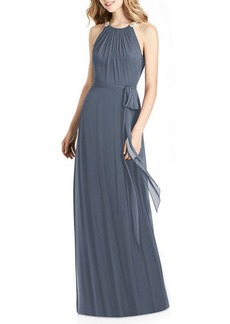 Jenny Packham Luxe Chiffon Halter Gown with Beaded Trim