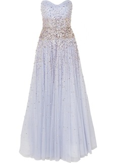 Jenny Packham Marielle Strapless Embellished Tulle Gown