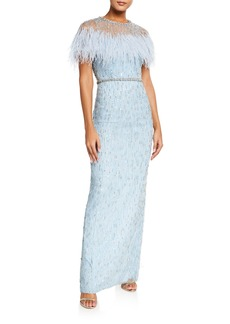 Jenny Packham Meline Tulle Feathered-Bust Gown