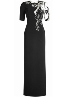 Jenny Packham Printed Crepe Gown