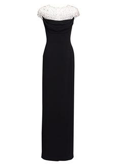 Jenny Packham Rhinestone Illusion Column Dress