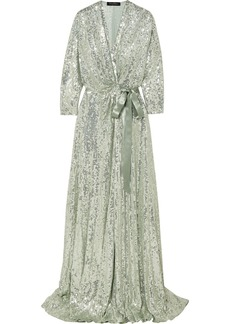 Jenny Packham Satin-trimmed Sequined Chiffon Wrap Gown