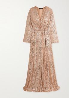 Jenny Packham Scarlett Sequined Chiffon Wrap Gown