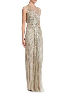Jenny Packham Sequin Illusion Sheath Gown