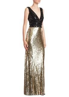 Jenny Packham Sequined & Beaded V-Neck Gown