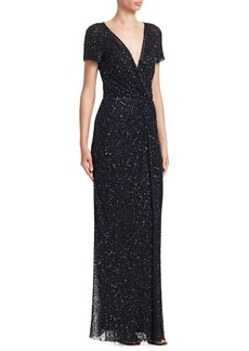 Jenny Packham Sequined Cap Sleeve Gown