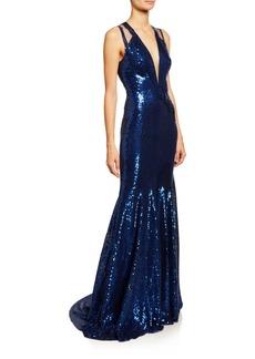 Jenny Packham Sequined Deep-V Mermaid Gown