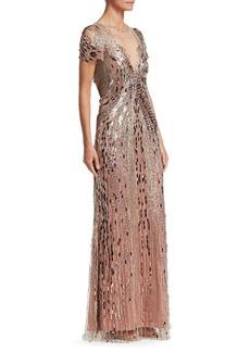 Jenny Packham Short Sleeve Illusion Bead Gown