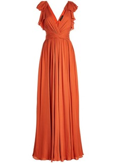 Jenny Packham Silk Floor-Length Gown with Ruffles