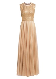 Jenny Packham Sleeveless Pleated Sequin A-Line Gown