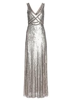 Jenny Packham Sleeveless Sequin V-Neck Gown