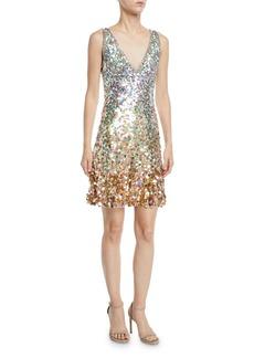 Jenny Packham Sleeveless V-Neck Ombre Sequin Dress