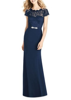 Jenny Packham Sweetheart Illusion Cap-Sleeve Marquis Lace & Crepe Column Bridesmaids Dress