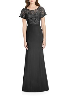 Jenny Packham Sweetheart-Illusion Sequin Lace-Bodice Short-Sleeve Crepe Gown