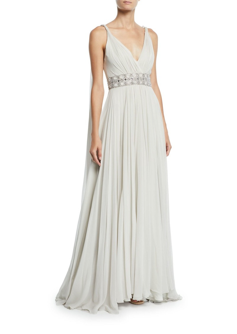 Tahoe Wrapped Silk-Chiffon V-Neck Gown